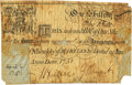"Colonial Notes:Maryland, Maryland April 6, 1751 1 Shilling ""New Bill"" Fr. MD-22. PCGS Fine 12 Apparent.. ..."