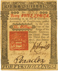 Colonial Notes:Pennsylvania, Pennsylvania April 3, 1772 40 Shillings Fr. PA-158. PCGS ExtremelyFine 45PPQ.. ...