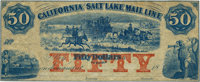 (Salt Lake City, U.T.) - California and Salt Lake Mail Line $50 18__ Rust 107var, Nyholm 145var. Remainder. PCGS Extreme...