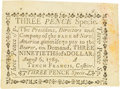 Colonial Notes:Pennsylvania, Pennsylvania Bank of North America August 6, 1789 3 Pence or $3/90 Fr. PA-274, Haxby PA-465 G16, Newman page 364.PCGS Choi...