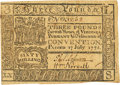 Colonial Notes:Virginia, Virginia July 17, 1775 3 Pounds Small Ordinance Fr. VA-79a. PCGS Choice About New 58.. ...