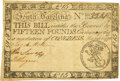 Colonial Notes:South Carolina, South Carolina March 6, 1776 15 Pounds Fr. SC-125. PCGS Very Fine 30 Apparent.. ...