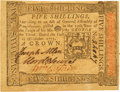 Colonial Notes:Pennsylvania, Pennsylvania October 1, 1773 5 Shillings Fr. PA-166. PCGS ChoiceNew 63PPQ.. ...