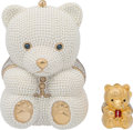 Luxury Accessories:Bags, Judith Leiber Wedding Collection Set of Two; Full Bead White GlassPearl & Silver Crystal Teddy Bear Minaudiere Evening Bag an...(Total: 2 Items)