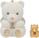 Judith Leiber Wedding Collection Set of Two; Full Bead White Glass Pearl & Silver Crystal Teddy Bear Minaudiere...