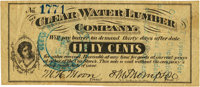 Clear Water or Gads Hill, MO - Clear Water Lumber Company 50 Cents Post Note Dec. 15, 1873. PCGS Very Fine 30