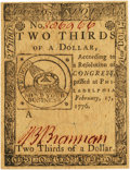 Colonial Notes:Continental Congress Issues, Continental Currency February 17, 1776 $2/3 Fr. CC-22. PCGS ChoiceAbout New 58PPQ.. ...