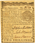 Colonial Notes:Pennsylvania, Pennsylvania March 10, 1769 2 Shillings Fr. PA-140. PCGS About New53PPQ.. ...