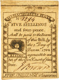 Colonial Notes:Massachusetts, Massachusetts 1779 5 Shillings 4 Pence Fr. MA-276. PCGS About New53.. ...