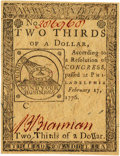 Colonial Notes:Continental Congress Issues, Continental Currency February 17, 1776 $2/3 Fr. CC-22. PCGS Choice About New 55.. ...