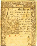 Colonial Notes:Connecticut, Colony of Connecticut March 26, 1761 30 Shillings Fr. CT-135. PCGSChoice New 63.. ...