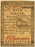 Colonial Notes:Continental Congress Issues, Continental Currency February 17, 1776 $1/6 Fr. CC-19. PCGS ChoiceAbout New 55.. ...