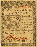 Colonial Notes:Continental Congress Issues, Continental Currency February 17, 1776 $1/3 Fr. CC-20. PCGS Choice About New 58PPQ.. ...