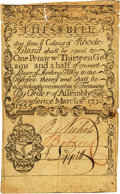 Colonial Notes:Rhode Island, Rhode Island March 18, 1750/51 Redated 1755 1 Dwt. 13.5 Gr. (5Shillings Old Tenor) Fr. RI-60b. PCGS Very Fine 25 Apparent....