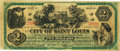 Obsoletes By State:Missouri, St. Louis, MO - City of Saint Louis Warrant $2 November 1, 1873. PCGS Very Fine 25 Apparent.. ...