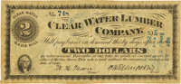 Clear Water or Gads Hill, MO - Clear Water Lumber Company $2 Post Note Oct. 15, 1873. PCGS Very Fine 30