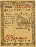 Colonial Notes:Continental Congress Issues, Continental Currency February 17, 1776 $1/2 Fr. CC-21. PCGS ChoiceAbout New 58.. ...