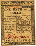 Colonial Notes:Continental Congress Issues, Continental Currency February 17, 1776 $1/6 Fr. CC-19. PCGS Gem New65PPQ.. ...