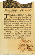 Colonial Notes:New York, Colony of New York May 31, 1709 5 Shillings (a) Fr. NY-1. PCGSChoice About New 58PPQ.. ...