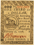 Colonial Notes:Continental Congress Issues, Continental Currency February 17, 1776 $1/3 Fr. CC-20. PCGS Gem New66PPQ.. ...