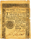 Colonial Notes:Vermont, State of Vermont February 1781 2 Shillings 6 Pence Fr. VT-3. PCGS Extremely Fine 40 Apparent.. ...