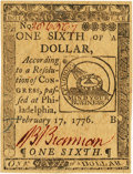 Colonial Notes:Continental Congress Issues, Continental Currency February 17, 1776 $1/6 Fr. CC-19. PCGS Gem New66PPQ.. ...