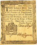 Colonial Notes:Pennsylvania, Pennsylvania August 1, 1744 1 Shilling Fr. PA-46. PCGS ExtremelyFine 45PPQ.. ...