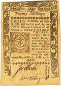 Colonial Notes:Rhode Island, Rhode Island March 18, 1776 20 Shillings William Ellery SignatureFr. RI-237. PCGS Very Fine 30.. ...