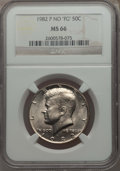 Kennedy Half Dollars, 1982-P 50C No FG, FS-901, MS66 NGC. NGC Census: (219/10). PCGSPopulation: (56/2). Mintage 10,819,000. ...
