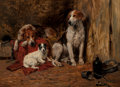 Fine Art - Painting, European:Antique  (Pre 1900), John Emms (British, 1843-1912). Hounds and a Jack Russell in astable. Oil on canvas. 18 x 24 inches (45.7 x 61.0 cm). S...