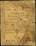 Colonial Notes:Continental Congress Issues, Continental Currency February 17, 1776 $1/6 Very Good.. ...