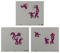 Fine Art - Work on Paper:Print, After Keith Haring . Sesame Street Breakdancers Animation Cell (Purple) (three works), 1987. Ink on overhead sheet, eac... (Total: 3 Items)