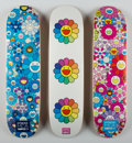 Fine Art - Work on Paper:Print, Takashi Murakami X Complexcon. Multi Flower 8.0 Skate Decks(Blue, Pink, and White) (three works), 2017. Screenprints in...