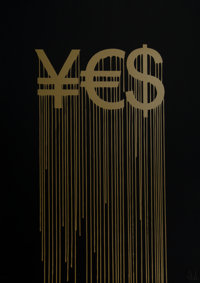 Zevs (b. 1977) Liquidated Yes, 2012 Silkscreen in colors on paper 27-1/2 x 19-3/4 inches (69.9 x