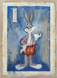 James Cauty (b. 1956) Bomber Bunny 1-Patriot Series (Blue) Oil on canvas 66 x 48 inches (167.6 x