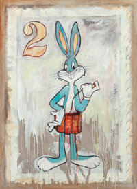 James Cauty (b. 1956) Bomber Bunny 2-Patriot Series (White) Oil on canvas 66 x 48 inches (167.6 x