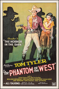 """The Phantom of the West (Mascot, 1931). One Sheet (27"""" X 41"""") Chapter 3 -- """"Horror in the Dark."""" Ser..."""