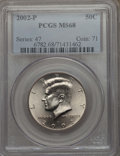 Kennedy Half Dollars, 2002-P 50C MS68 PCGS. PCGS Population: (110/0). NGC Census: (2/0)....