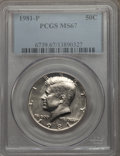 Kennedy Half Dollars, 1981-P 50C MS67 PCGS. PCGS Population: (25/0). NGC Census: (18/1).Mintage 29,544,000. ...
