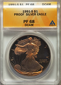 1991-S $1 Silver Eagle PR68 Dee Cameo ANACS. This lot will also include the following: 1993-P $1 Silver Eagle PR65 Deep...