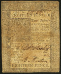 Colonial Notes:Delaware, Delaware January 1, 1776 18d Fine-Very Fine.. ...
