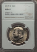 Kennedy Half Dollars, 1978-D 50C MS67 NGC. NGC Census: (10/0). PCGS Population: (33/0).Mintage 13,765,799. ...
