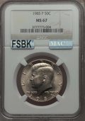 Kennedy Half Dollars, 1985-P 50C MS67 NGC. NGC Census: (65/1). PCGS Population: (58/0).Mintage 18,706,962. ...