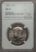 Kennedy Half Dollars, 1982-D 50C MS67 NGC. NGC Census: (17/0). PCGS Population: (29/0).Mintage 13,140,102. ...
