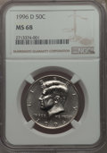 Kennedy Half Dollars, 1996-D 50C MS68 NGC. NGC Census: (7/0). PCGS Population: (21/0)....