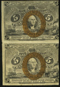 Fractional Currency:Second Issue, Fr. 1232 5¢ Second Issue Uncut Vertical Pair Extremely Fine.. ...