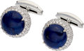 Estate Jewelry:Cufflinks, Lapis Lazuli, Diamond, White Gold Cuff Links. ...