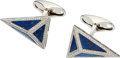Estate Jewelry:Cufflinks, Diamond, Lapis Lazuli, White Gold Cuff Links, Eli Frei. ...