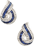 Estate Jewelry:Earrings, Diamond, Sapphire, Platinum Earrings. ...