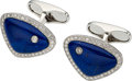 Estate Jewelry:Cufflinks, Diamond, Lapis Lazuli, White Gold Cuff Links, Eli Frei . ...